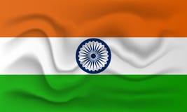 Realistisk flagga av Indien stock illustrationer
