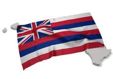 Realistisk flagga som täcker formen av Hawaii (serier) Arkivfoton