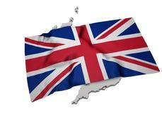 Realistisk flagga som täcker formen av UK (serier) Arkivbild