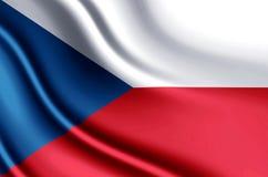 Realistisk flaggaillustration för Tjeckien royaltyfri illustrationer