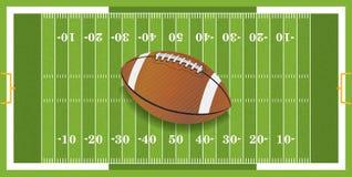 Realistisk fotboll på texturerat fotbollfält vektor illustrationer