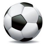 Realistisk fotbollboll på vit bakgrund Royaltyfria Bilder