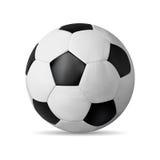 Realistisk fotbollboll på vit med skugga Royaltyfri Foto
