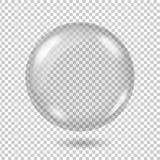 Realistisk genomskinlig exponeringsglasboll eller sfär för vektor vektor illustrationer