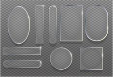 Realistisk genomskinlig för uppsättningvektor för exponeringsglas 3d illustration Glansigt baner för reflexionsramtextur med skug royaltyfri illustrationer