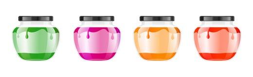 Realistisk genomskinlig glass krus med driftstopp, confituren eller sås Bevara den förpackande uppsättningen Etikett och logo för royaltyfri illustrationer