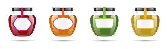 Realistisk genomskinlig glass krus med driftstopp, confituren eller sås Bevara den förpackande uppsättningen Etikett och logo för vektor illustrationer