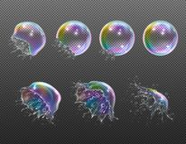 Realistisk genomskinlig såpbubblaexplosion stock illustrationer