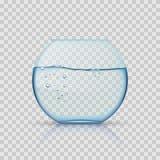 Realistisk glass fishbowl, akvarium med vatten på genomskinlig bakgrund Arkivfoton