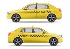 Realistisk gul taxibil Bilmodell som isoleras på vit Taxivektorillustration stock illustrationer