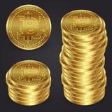 Realistisk guld- för myntvektor för bitcoin 3d illustration Royaltyfria Bilder