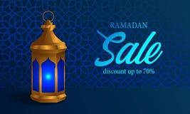 realistisk guld- fanous arabisk lampa 3D med för ramadan för blå bakgrund det skinande banret försäljning stock illustrationer