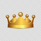 Realistisk guld- krona 3D på genomskinlig bakgrund också vektor för coreldrawillustration vektor illustrationer
