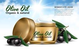 Realistisk guld- kvinnakruskräm för framsidan Olive Oil Svarta oliv för filial Bländande bakgrund för flaskmodell Innehållet i ex Royaltyfria Foton