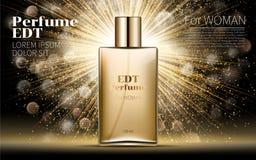 Realistisk guld- modell för kvinnaparfumeflaska på bländande bakgrund Fotografering för Bildbyråer
