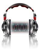 Realistisk hörlurar med musikvågor Arkivfoton