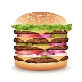 Realistisk hamburgarevektor för snabbmat Stor hamburgaresymbol stock illustrationer