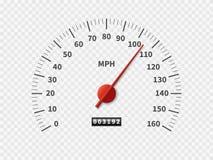 Realistisk hastighetsmätare Begrepp för meter för motor för mäta skala för mil för motor för meter r/min. för visartavla för räkn vektor illustrationer