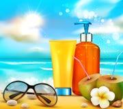 Realistisk illustratin för vektor flaskor 3d med solskydd c Royaltyfri Foto
