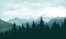 Realistisk illustration av en barrskog i ett bergland Arkivbilder