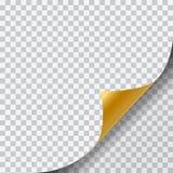 Realistisk illustration av en tom guld- sida med det krullade hörnet och skugga på genomskinlig bakgrund - vektor vektor illustrationer