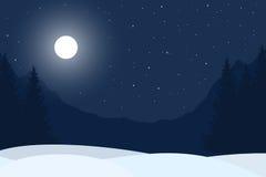 Realistisk illustration av landskapet för vinternattberg Royaltyfri Fotografi