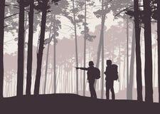 Realistisk illustration av retro landskapkonturer med skogen och barrträd Två fotvandrare, man och kvinna med ryggsäckar stock illustrationer