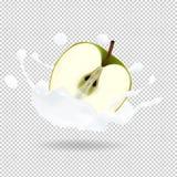 Realistisk illustration för Apple och yoghurtfärgstänkvektor vektor illustrationer