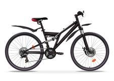 Realistisk illustration för cykelvektor Svart metallisk cykelhalva-framsida med många multipeldetaljer som isoleras på vit bakgru Royaltyfri Bild