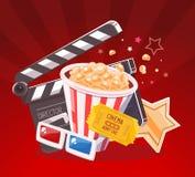 Realistisk illustration för vektor av bioexponeringsglas, clapper, popcorn Royaltyfri Foto
