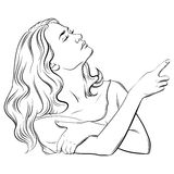 Realistisk illustration för vektor med ståenden av den unga härliga kvinnan Royaltyfri Fotografi