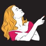 Realistisk illustration för vektor med ståenden av den unga härliga kvinnan Royaltyfria Foton