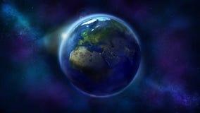 Realistisk jord fr?n utrymme som visar Afrika, Europa och Asien royaltyfri bild