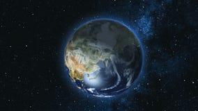Realistisk jordplanet mot stjärnahimlen Fotografering för Bildbyråer