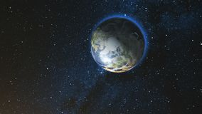 Realistisk jordplanet mot stjärnahimlen Royaltyfria Bilder