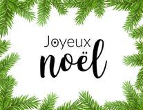 Realistisk julram med gran Bokstäver för typografi för Joyeux noel sörjer fransk kortet för trädgarneringgränsen stock illustrationer