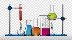 Realistisk kemisk uppsättning för laboratoriumutrustning Glass flaskor, dryckeskärlar, andelampor stock illustrationer