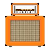 Realistisk klassisk gitarrförstärkare med den kabineda högtalaren, vektor arkivbild
