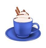 Realistisk kopp för foto av kräm- och chokladpinnar Arkivfoto