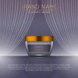 realistisk kosmetisk annonsmall för flaska 3D Kosmetisk design för begrepp för märkesadvertizing med krabb ljusabstrakt begreppba Fotografering för Bildbyråer