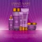 realistisk kosmetisk annonsmall för flaska 3D Kosmetisk design för begrepp för märkesadvertizing med krabb ljusabstrakt begreppba Royaltyfria Foton