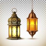 Realistisk lykta för lampa för vektorramadan kareem vektor illustrationer