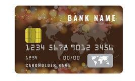 Realistisk mall för kreditkortdesign med en åtlöje för chipfrontsidesikt upp Mörker - blå färg Royaltyfri Fotografi