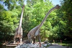 Realistisk modell av dinosaurien - Brachiosaurus Arkivbilder