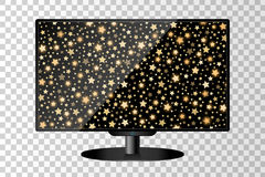 Realistisk modern isolerad TVbildskärm Guld- abstrakt skinande bakgrund för fallande stjärnor vektor illustrationer