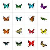 Realistisk monark, fjäril, tropisk mal och andra vektorbeståndsdelar Uppsättningen av realistiska symboler för mal inkluderar ock Arkivfoto