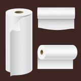 Realistisk pappers- mall för kökshandduk för vit 3d för mellanrum för illustration för vektor för rullåtlöje upp uppsättning isol royaltyfri illustrationer