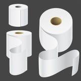 Realistisk pappers- mall för kökshandduk för vit 3d för mellanrum för illustration för vektor för rullåtlöje upp uppsättning isol stock illustrationer
