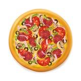 Realistisk pizza Fotografering för Bildbyråer