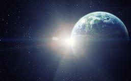 Realistisk planetjord i utrymme Royaltyfria Foton